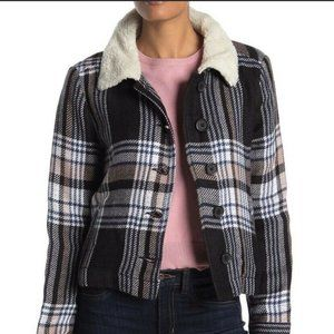 Susina Blue Plaid Sherpa Shearling Jacket shacket Large